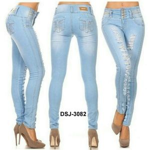 Denim - DSJ-3082 Colombian Design Push Up Skinny Jeans.
